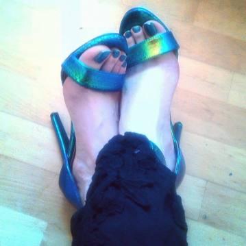 alt=<iridescent sandals>