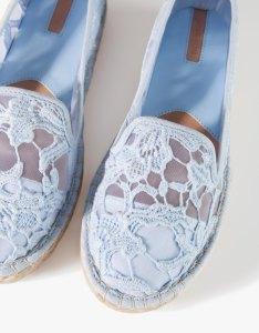 alt=<blue crochet espadrilles>