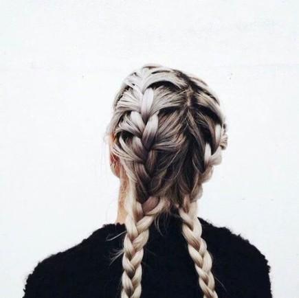 alt=<blonde french braids>