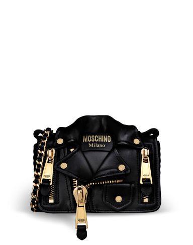alt=<Moschino black jacket bag>