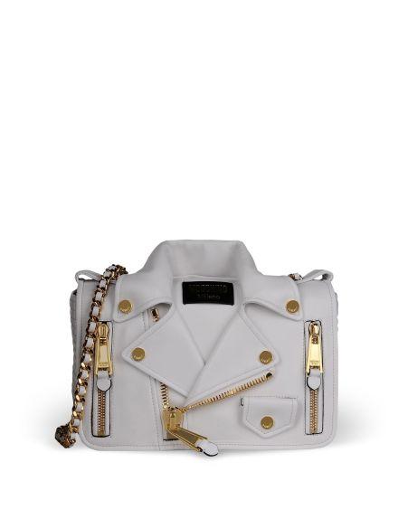 alt=<moschino white jacket bag>