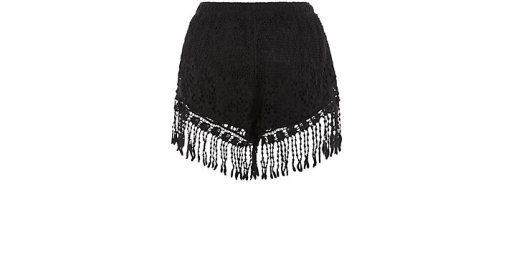 alt=<black crochet shorts>