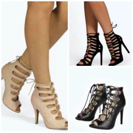 alt=<lace up heels collage>