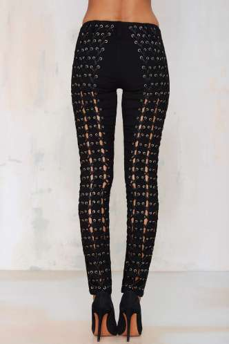 alt=<lace-up trouser rear>