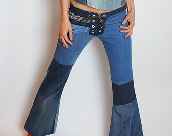patchwork lace up jeans