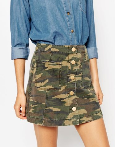 alt=<camo a line skirt>