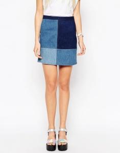 alt=<denim patchwork skirt>
