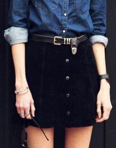 alt=<black suede a-line skirt>