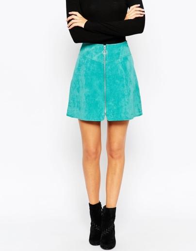 alt=<blue zip front skirt>