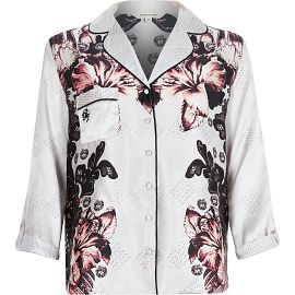 "alt=""river-island-womens-floral-print-pajama-shirt"""