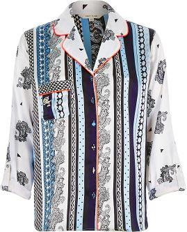 """alt=""""river-island-womens-blue-printed-pajama-shirt"""""""