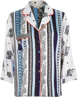 "alt=""river-island-womens-blue-printed-pajama-shirt"""