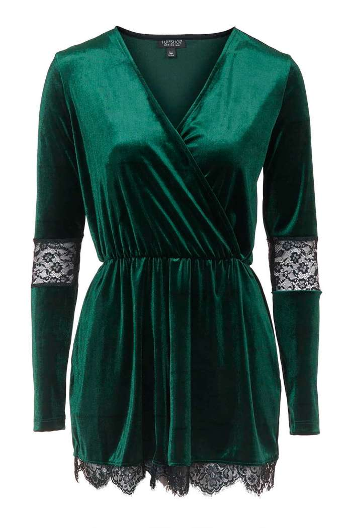 green lace and velvet