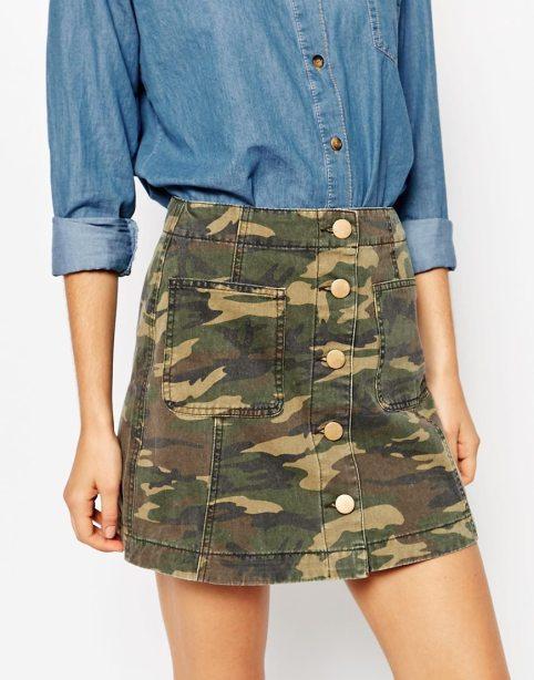 camo a line skirt