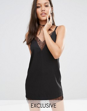 Black slip lace dress. Pic: Missguided at Asos.com