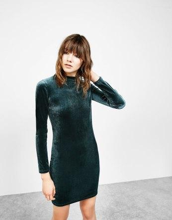 Green velvet dress. Pic: Bershka.com