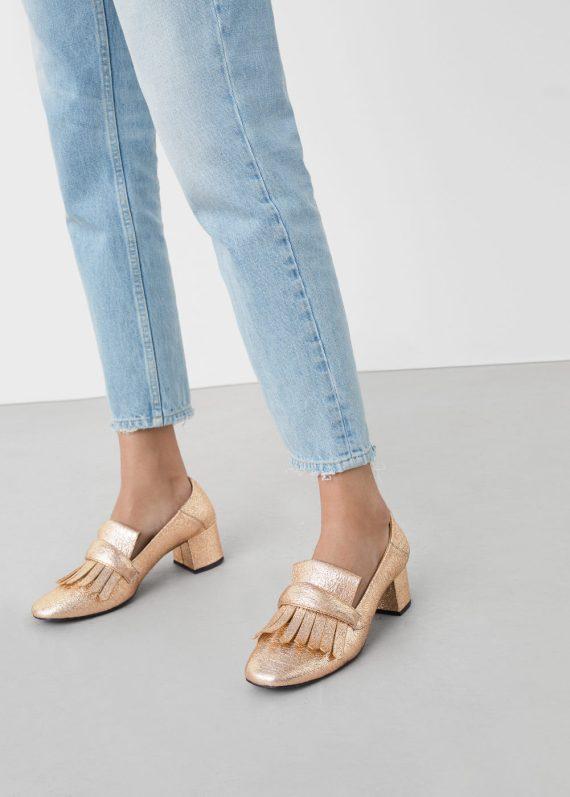 alt=<gold heeled loafer>