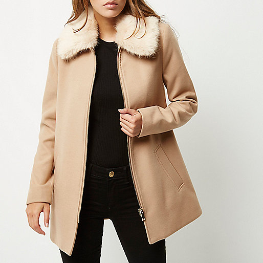 Brown swing coat with faux fur collar. Pic: RiverIsland.com