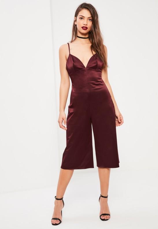 alt=< burgundy culotte jumpsuit>