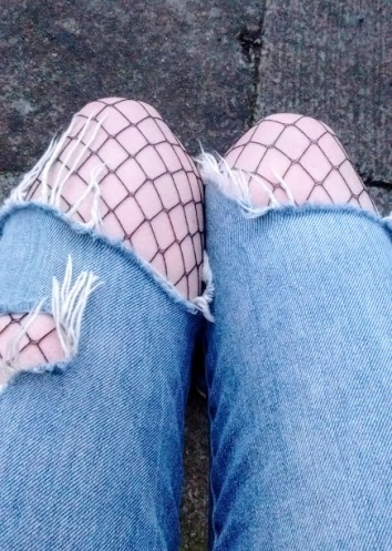 My Zara jeans and H & M fishnets.