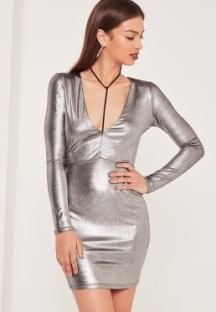Silver plunge neck dress. Pic: Missguided.com