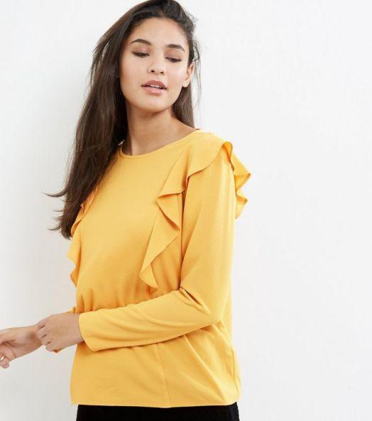 alt=< yellow frill top>