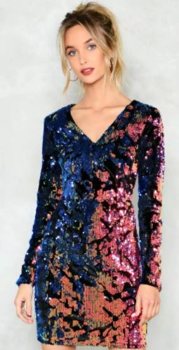 sequin and velvet dress