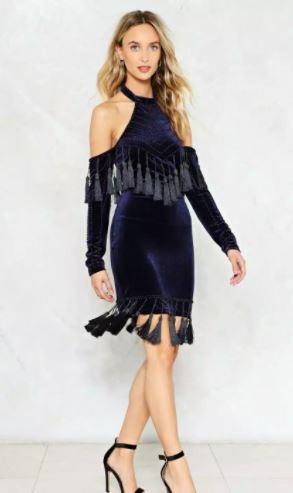 navy velvet tassel dress
