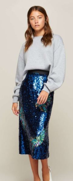 blue sequin skirt