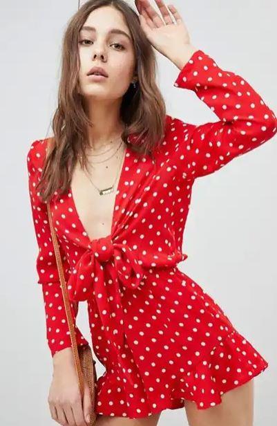 alt=<Red polka dot playsuit>
